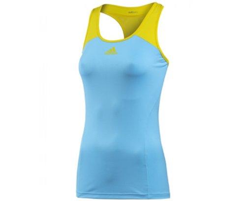 Adidas Adizero Débardeur sans manches pour femmes Bleu - Turquoise clair/jaune vif