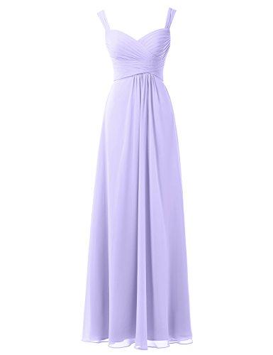 Alicepub Lang Chiffon Brautjungfernkleider Abendkleider Party Festkleider Maxi, Flieder, 40