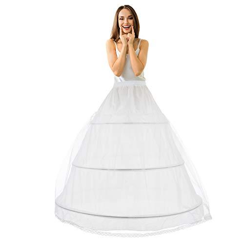 LONGBLE Reifrock Brautkleid Petticoat Unterrock, Tüll Reifrock Krinoline - 3 Ring verstellbar Underskirt Damen lang Unterröcke für Hochzeitskleider Ballkleider Abendkleider Brautkleider Promkleider