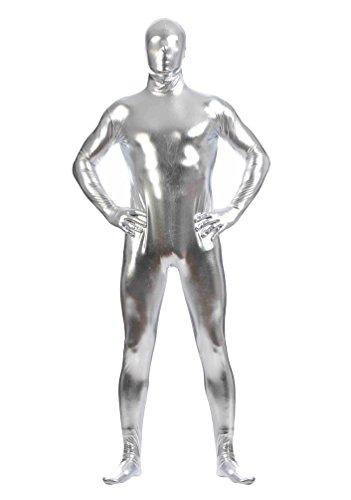 CHENGYANG Zweite Haut Ganzkörperkostüm Für Herren Mit Rücken Reißverschluss Catsuit Zentai Silber (Größentabelle Zweite Haut Kostüm)