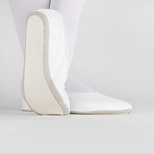 Fusoliera 1031 danza Fitness Ginnastica Sport scarpe in pelle suola Kombi Bianco - bianco
