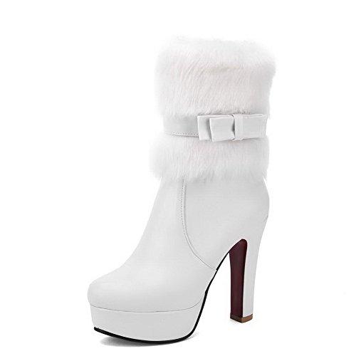 AllhqFashion Damen Niedrig-Spitze Rein Reißverschluss Hoher Absatz Stiefel mit Schleife Weiß