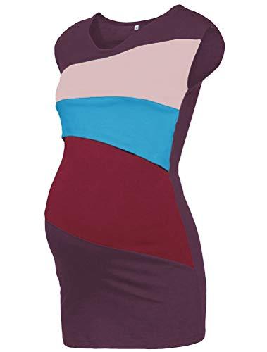 CHAGANA Casual Robe Allaitement Robe Femme Grossesse sans Manche Tricolore Mode
