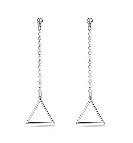 SanJiu Schmuck Damen Ohrhänger Charme Ohrring mit Dreieck Ohrhänger Versilbert Ohrschmuck für Damen Mädchen Ohrringe (Ziel Wolf Sie Kostüm)