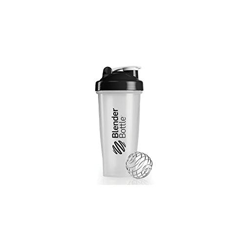 BlenderBottle Classic Shaker / Eiweiß Shaker / Diät Shaker / Protein Shaker mit Blenderball -  Schwarz transparent 820ml Fassungsvermögen, skaliert bis 600 ml (Blender-ball-sport-mixer)