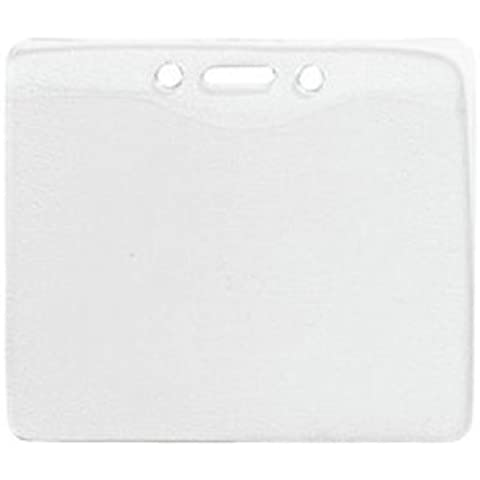Horizontal Vinyl Pre-Punched Name Badge Holders - 100 Pack by Brady & White