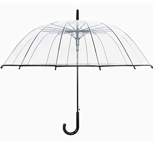 Umbrella Female 450g108cm Doppelt verwendbarer Langer Regenschirm Große doppelschichtige automatische Regenschirm-Verstärkungsideen (Color : Clear)