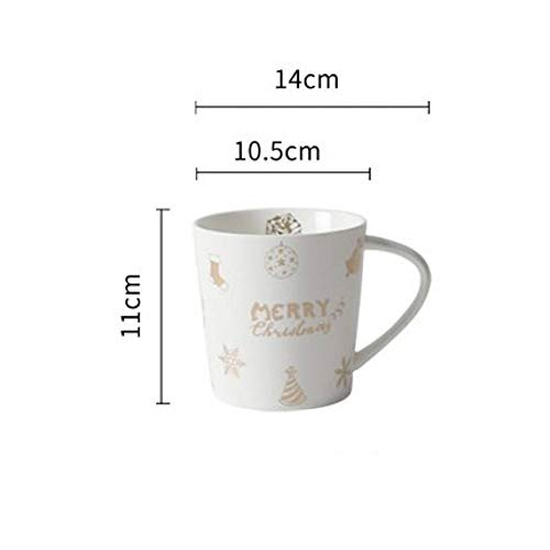 XIAMD Tasse 400Ml Large Capacity Christmas Ceramics Mugs Home and Office Milk Tea Coffee Cups Couple Breakfast Mug for, White,400Ml White Breakfast Cup