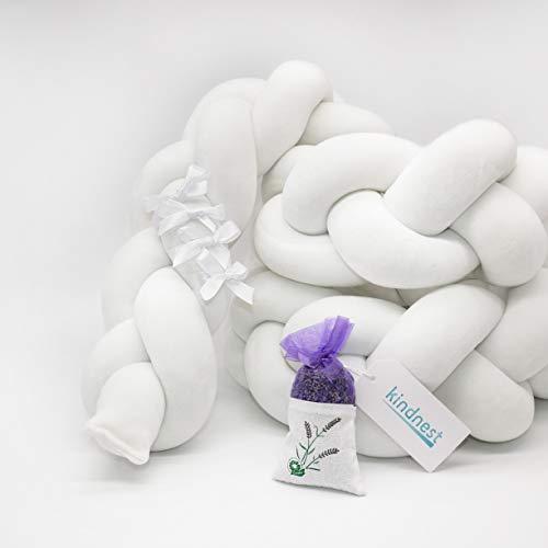 Bettumrandung Lavendel SET Kinderbett Baby Nestchen 2m Krippe Weben Geflochten Stoßfänger Kopfschutz Bettausstattung Dekoration für Babybett Babywiege (Weiß, 2m)