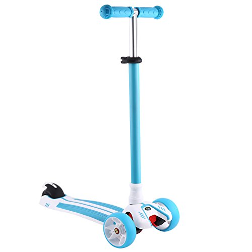 Profun Monopattino Scooter Pieghevole con 4 Ruote PU con Luci LED Altezza Regolabile da 77-87CM con Freno Posteriore con Graffiti in Tavolo Sicuro per Bambini 3-12 Anni (Type2 Blu)