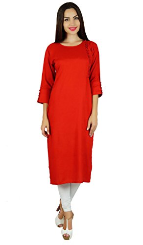 Bimba rayonne er kurta Kurti manches 3/4 formelle casual tunique blouse Rouge