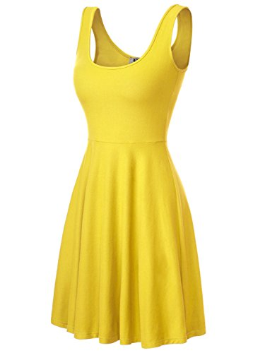 DJT Damen Vintage Sommerkleid Traeger mit Flatterndem Rock Blumenmuster Gelb XL - Kleider Gelb Damen