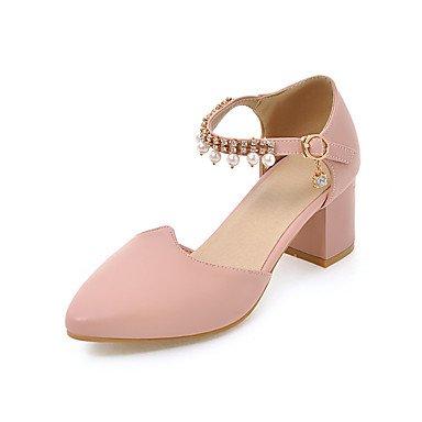 LvYuan Damen-Sandalen-Büro Lässig Kleid-PU-Blockabsatz-Club-Schuhe-Schwarz Rosa Weiß Pink