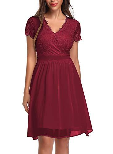 Oten vestito longuette da cocktail floreale in pizzo con scollo a v in pizzo da donna