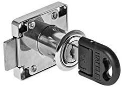 4 Stück GedoTec® Zylinder-Riegelschloss Aufschraubschloss SET für Schubladen & Schränke | Stahl vernickelt | Kastenschloss Dornmaß: 25 mm | Markenqualität für Ihren Wohnbereich