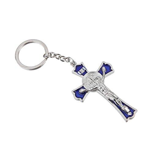 Blu Crocifisso Gesù Portachiavi Santa Croce Portachiavi Religiosa Cattolica Regalo - Piombo Portachiavi