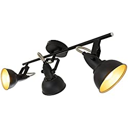 Briloner Leuchten 2049-035 Lámpara de Techo E14, 40 W, Negro/Dorado, 55.4 x 10 x 18.1 cm