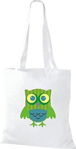 Tragetasche ShirtInStyle weiss niedliche Owl Punkte weiss mit Jute diverse Eule Karos Bunte Farbe Stoffbeutel streifen Retro X6xwXr