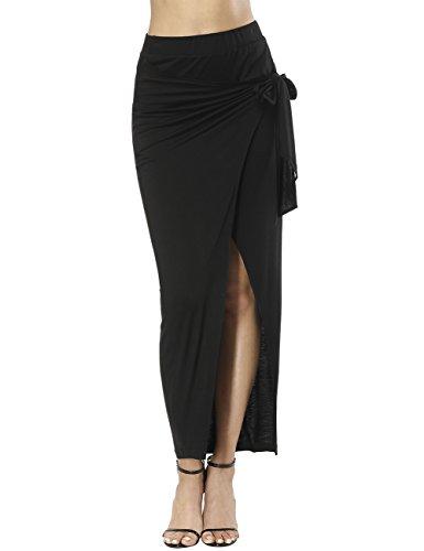 Queenromen Damen hohe Taille Tie Front Sommer feste Seite Split Maxi Rock Comfy lange Röcke Schwarz - Pencil Skirt Schlitz Mit