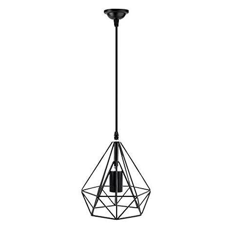 Abat-Jour Suspendu Cage en Métal avec Câble Décoration de Plafond Rétro Noir - Noir, Diamant 19 x 19 cm