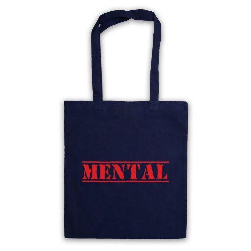 Mental Funny Slogan Tote Bag Blu navy