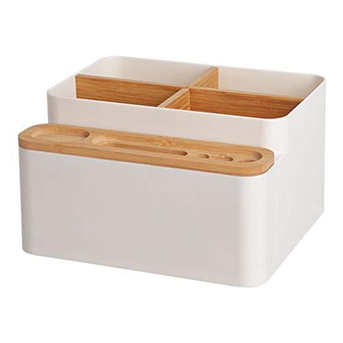 Mmyunx Büro-Schreibtisch-Organisator, Handy-Stand-Hölzerner Stift-Stand-Sitz-Schreibtisch-Organisator Für Büro, Wohnzimmer, Badezimmer Und Küche,White - Badezimmer-eitelkeit-sitz