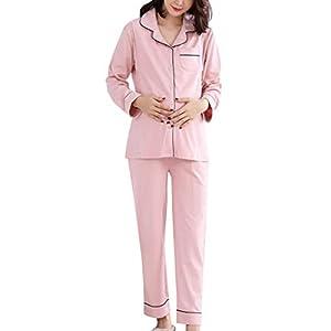 Sujisi-Pijamas-Lactancia-Premam-de-Algodn-Camisin-para-Mujer-Embarazada-Maternidad-Ropa-de-2-Piezas-para-Dormir-con-Mangas-Largas-2XL
