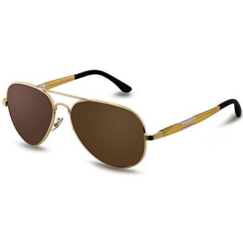 DUCO Unisex Aviator Stil Polarisierte Sonnenbrille, Pilotenbrille mit Federscharnier, Etui und Putztuch, 3026 (Gestell: Gold, Gläser: Braun)