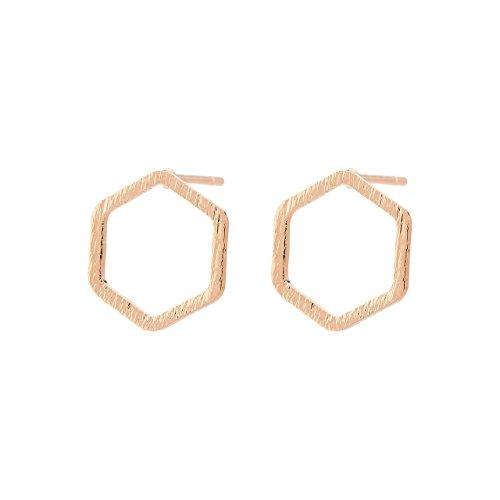 Selia runder open Octagon Ohrring Hexagon Sechseck Ohrstecker in minimalistischer brushed Optik (Reosegold)