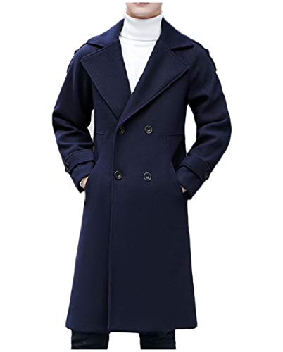 CuteRose Men Woolen Notched Collar Double Breasted Jacket Overcoat Peacoat Navy Blue L Navy Wool Toggle Coat