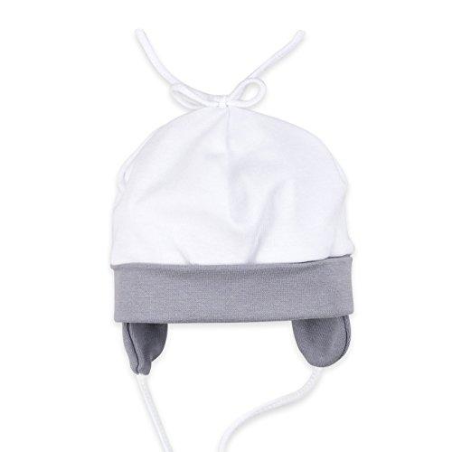 Baby Mütze weiß grau   Motiv: I Love Mama & Papa   Marke: Baby Sweets   Babymütze für Neugeborene & Kleinkinder   Größen: 56 62 68 74