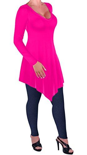 Eyecatch - Everly Aux femmes Grande taille En vrac Fit Longue Manche T-shirt Dames Chemisier V col en Tunique Tops Rose Néon