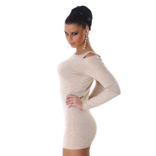 Jela London Damen Strickkleid Kleid Schulterfrei Onesize trendiges Design Beige