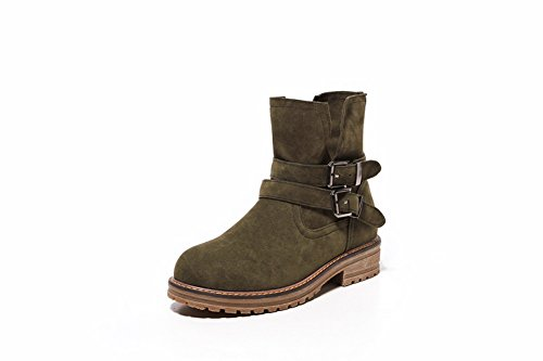 balamasa-girls-square-heels-buckle-platform-green-frosted-boots-35-uk