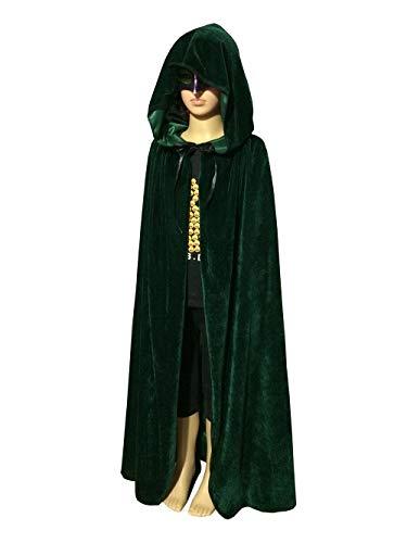 een Kostüm Samt Kapuze Mantel Cape Masquerade Cosplay Zubehör,Green,130Cm ()