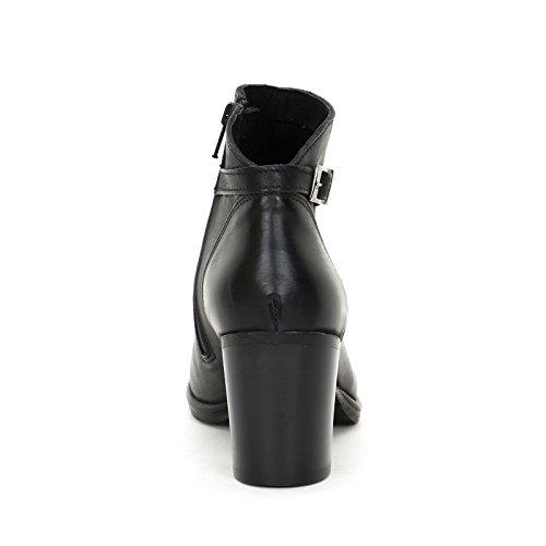 ALESYA by Scarpe&Scarpe - Bottines hautes avec boucle, en Cuir, à Talons 7 cm Noir