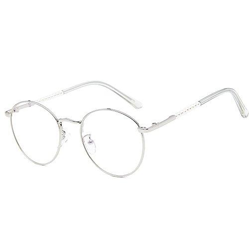 Sonnenbrillen Mode Damensonnenbrillen zarte einfache Perle für Frauen klassische Damen Brillen Studenten Sonnenbrillen künstlerische dünne Metallrahmen UV-Schutz umrandeten ( Farbe : Silber )