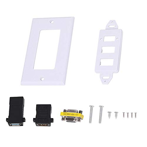 Robustes Mini-Sockel-Licht 3-Ports USB 3.0 A VGA-Wandabdeckung für Frontplattenabdeckung Steckdose Audio-Video-Panel - Schwarzweiß Gang Wall Plate 3 Port