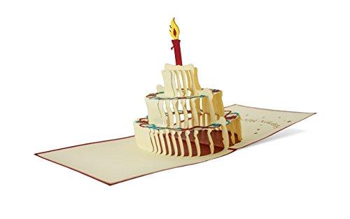 Happy Birthday-Karte zum Geburtstag als Glückwunschkarte, Pop-Up Geburtstagskarte, Torte mit Kerzen als Geschenkidee, G04 (Geburtstag Karten)