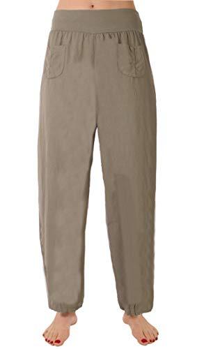 Eitex Damen Leinenhose Größe 36/38 bis Größe 50/52 aus 100% Leinen - leichte Sommerhose Tunnelbund mit Gummizug und 2 aufgesetzten Taschen vorne - weiter Schnitt (Khaki, 46/48)