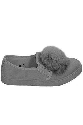 Fantasia Boutique moelleux pour dames Fourrue Pom Pom chaussures plat Faux Daim baskets Mocassin patineuse chaussures Gris