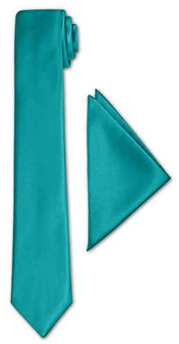 CRIXUS schmale Krawatte Hell Petrol Blau Satin-Krawatte mit oder ohne Einstecktuch ( Tuch Maß 26 x...