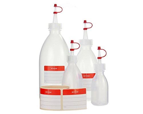 4x Quetschflaschen mit 50ml, 100ml, 250ml, 500ml Volumen, Spritzflaschen aus LDPE mit Tropfverschluss, Garnierflaschen, Dekorationsflasche für Küche, Hobby oder Labor