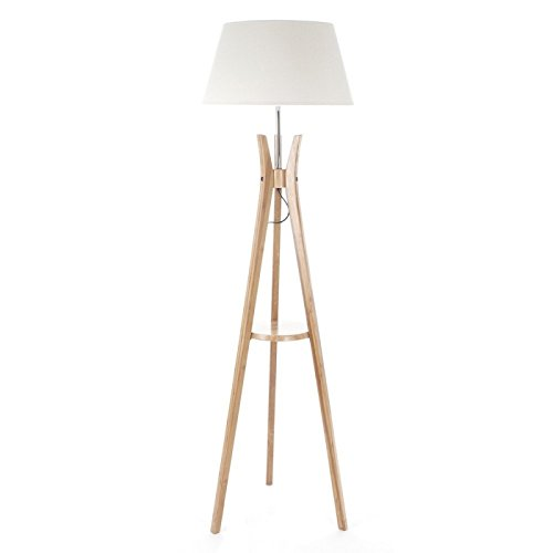 7cc6f855685d Tripod floor lamp with tablet - Industrial spirit - Wooden foot and  lampshade WHITE BREAK