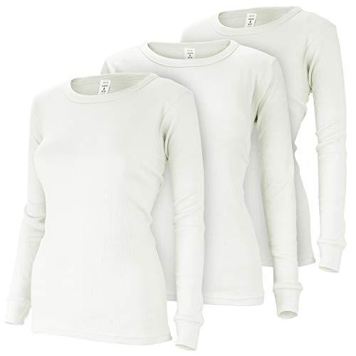 Damen Thermo Unterhemden Set   3 langarm Unterhemden   Funktionsunterhemden   Thermounterhemden 3er Pack - Creme - M