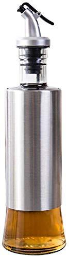 Junnom Glas Cruet, 300ml Edelstahl Sichtbare Cruet Essig Öl Dispenser Flasche mit Hebel Release Ausgießer für Öl, Ausgießer, Essig, Soja-Sauce, Salat Dressing