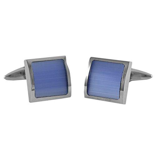Lindenmann Cufflinks/Cuff Buttons, Silvery with Cats-Eye Light Blue, Gift Box, 10028