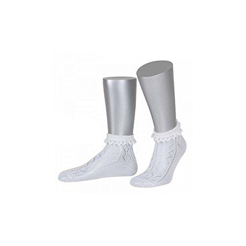 ALMBOCK Trachtensocken Damen Spitze | Tracht Söckchen in weiß mit Spitzenabschluss | Tracht Socken für Oktoberfest