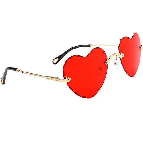 Hellery Herz Sonnenbrille Sunglasses perfekt für Outdoor-Aktivitäten oder Party - rot