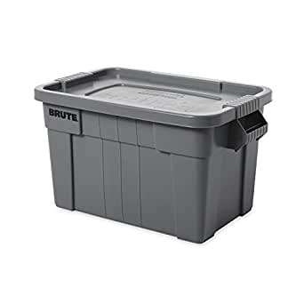 Rubbermaid FG9S3100Grey BRUTE 20 Gal Tote with Lid, Grey
